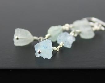 Aquamarine Earrings Sterling Silver - Triple Raw Aquamarine Stones - Irregular Shape - March Birthstone