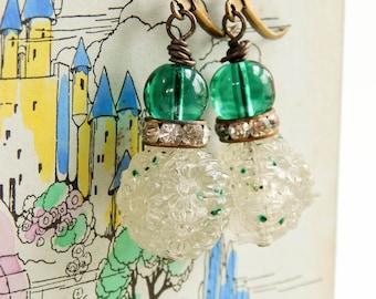 Vintage rhinestone earrings / upcycled earrings / beaded rhinestone earrings / vintage earrings / upcycled vintage / vintage rhinestones