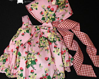 Ruffle romper bubble suit sunsuit and bonnet set size 3 mos - 6 mos ready to ship Easter spring summer MADE in the USA