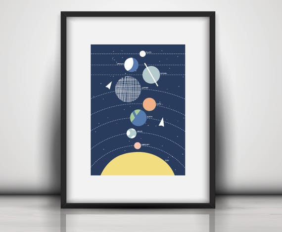 Bold Baby Playroom Nursery Solar System Space Rocket Airplane Earth Moon Cute Mid Century Modern Trendy Print - Digital Instant Download