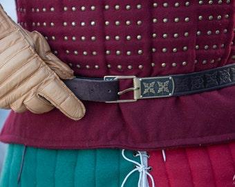 """Leather Belt """"Hound of War""""; Soldier Belt; Men's Belt; Embossed Belt"""