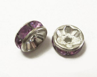 20 x Purple Rhinestone, Silver Plated Rondelle Spacers Beads 8x4mm, Rondelle Beads