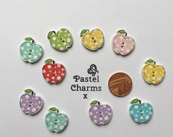 Pack of 10 mixed pretty wooden apples embellishments