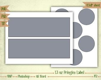 1.3 oz Mini Pringles Labels - Digital Collage Sheet Layered Template - (T102)