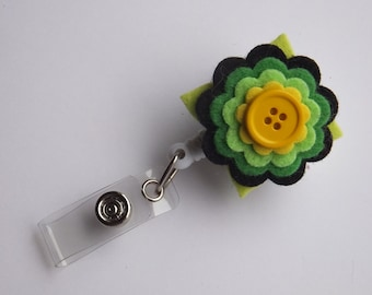 Retractable Badge Reel ID Flower Swivel Clip ID Badge Holder Name Badge Clips Nurse gift