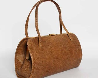 Authentic vintage 1950s handbag, classic bag, Kelly bag, Made in England, real leather