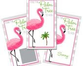 Set of 12 Scratch Off Game Cards with Tropical Flamingo and Palm Tree Coastal Scratchers in Pink and Gray CSC025