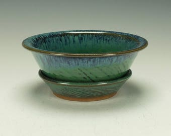 Stoneware pottery berry bowl.  Green with blue streaks.  Ready to ship.
