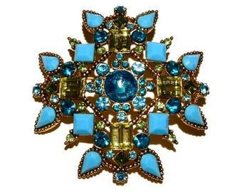 Vintage Turquoise Brooch, Rhinestone Brooch