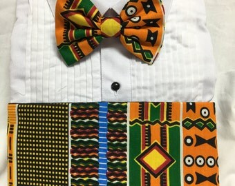 African Print Orange and Maroon Kente Kids Cummerbund for a wedding or formal event