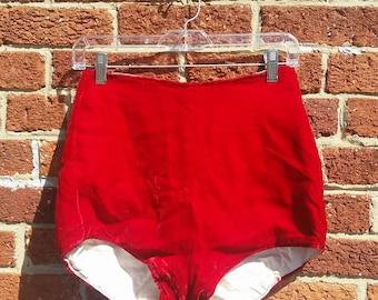 Vintage High Waist Red Velvet Burlesque Pinup Bloomers // Majorette // Circus Performer Shorts
