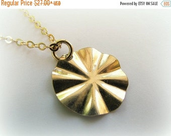 CHRISTMAS SALE - Sun necklace - Gold necklace with a hammered disc charm - small gold disc necklace - Disc necklace, gold necklace