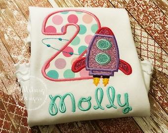 Girly Space Birthday Shirt - Rocket Ship Birthday Shirt -  Custom Tee Personalized Birthday Tee 112