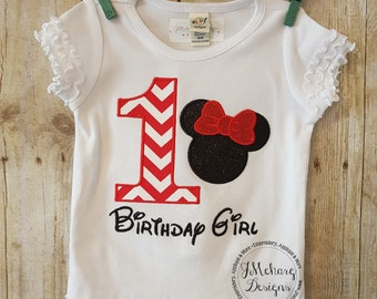 Girl Mouse Inspired Birthday Custom Tee Shirt - Customizable -  Infant to Youth 155