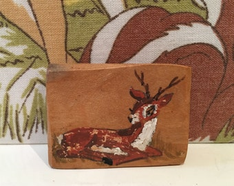 Vintage Wooden Deer Brooch Fawn Kitsch Kawaii Reindeer Christmas