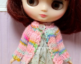 BLYTHE Middie doll hand knit wool cardigan sweater - pink rainbow