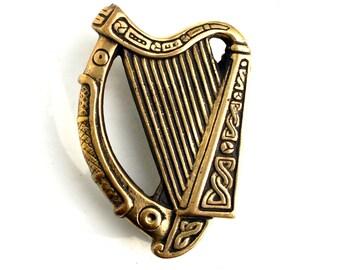 Antique Irish Harp Door Knocker Celtic Brass