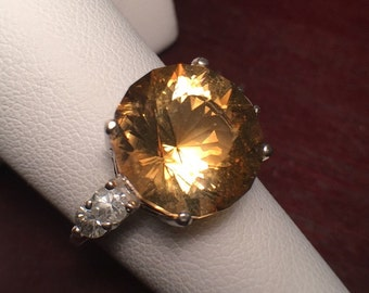 Citrine and Zircon Accents Ring Size 7 All Natural Gemstones Big Sparkly Round Solitaire with Accents Sterling Silver Cocktail Ring