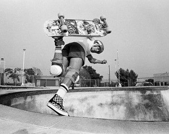Steve Caballero Skateboarding Photo - Bones Brigade Backside Boneless - Black and White 18X24 Photograph