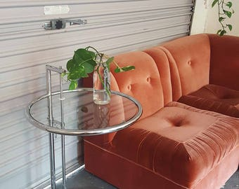 Eileen Gray/hollywood regency style glass & chrome side table