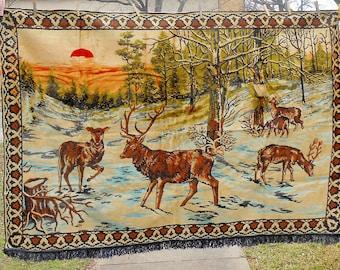 Vintage Large Velvet Tapestry Outdoor Winter Deer Elk Forest Scene Wall Hanging Rug Art Tapestry