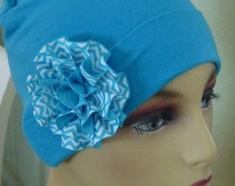 Ladies Turquoise Cotton Knit Chemo Hat with Flower s, Girls Knit  TurquoiseHand decorared Chemo Hat