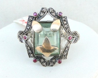 Victorian Diamond Flourite & Ruby 14 K Gold Silver Ring