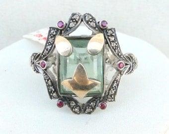 Victorian Diamond Flourite & Ruby 14 K Gold Silver Ring