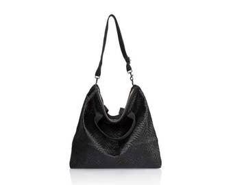 Woven Black Leather hobo bag- Convertible soft Leather bag crossbody bags leather backpack leather shoulder bag gold leather tote bag