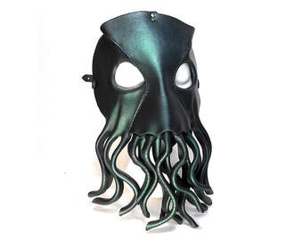 Cthulhu Mask / Leather Mask / Tentacles / Lovecraftian / Cephalopod / Octopus Mask / Squid/ Dagon/ Deep Ones/ Cultists/ Cosplay / Masquerade