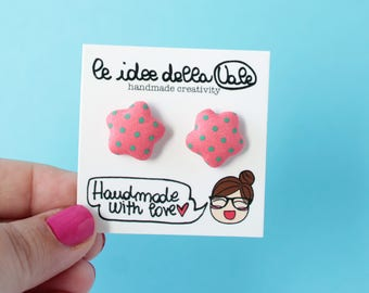Star Earrings - Polka dots - Coral and Green
