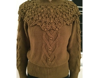 Women's Medium Mustard Yellow Olive Cotton Knit Crochet Vintage 1980s Thick Banded Bottom Sweater