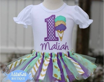 Personalized Ice Cream Cone Gold, Mint and Purple Dots and Chevron Fabric Tutu Birthday Outfit