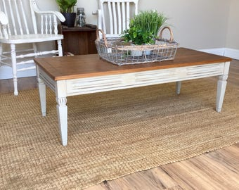 Small White Coffee Table - Vintage Coffee Table - Small Coffee Table - Real Wood Furniture - Country Cottage Furniture  Distressed Furniture