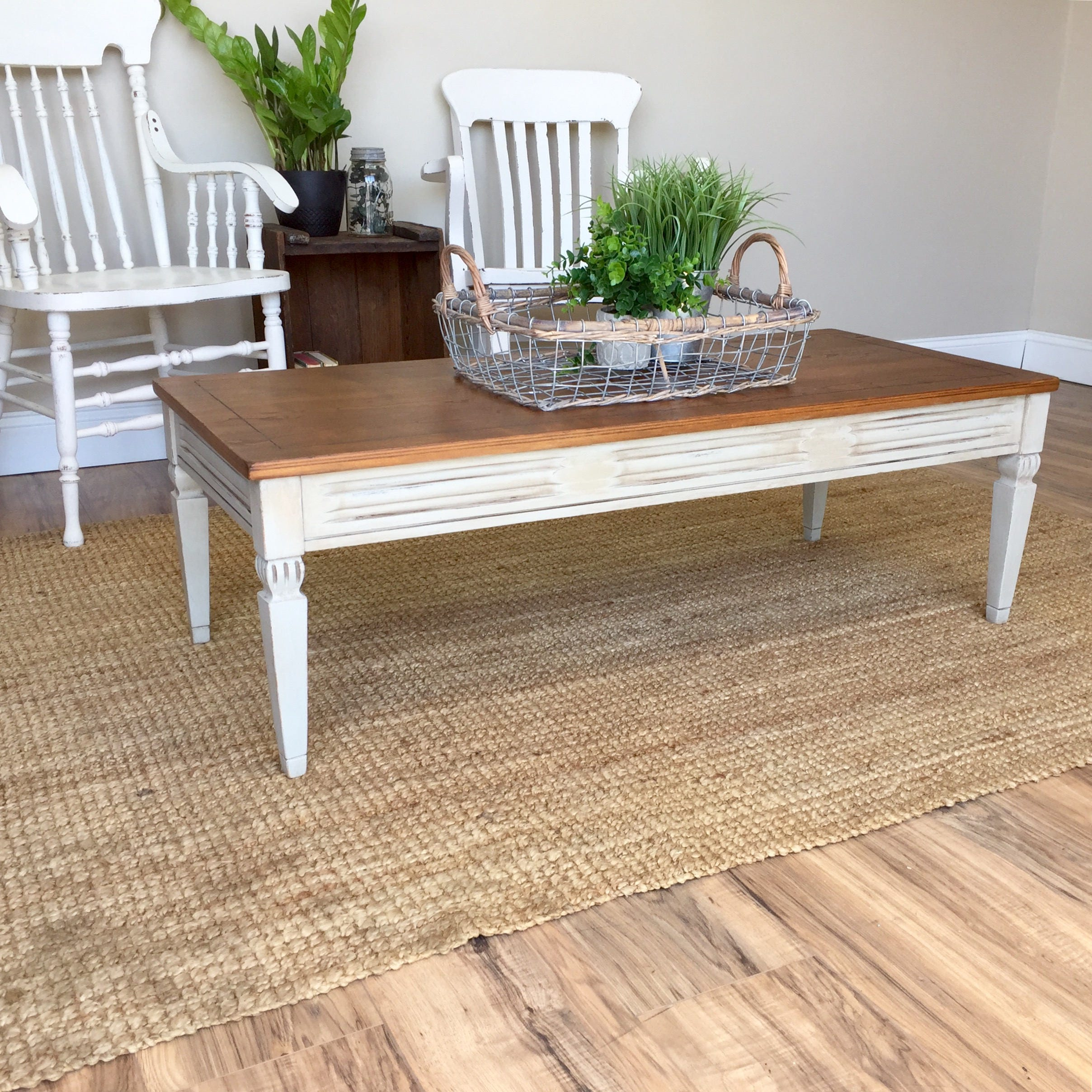 Decorating With Distressed Furniture: Small White Coffee Table