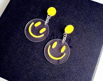Vintage smiling faces moschino sense of humor earrings