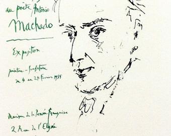 "Picasso 73 ""hommage-au-poete-antonio-machado"" printed 1959 Mourlot Art in posters"