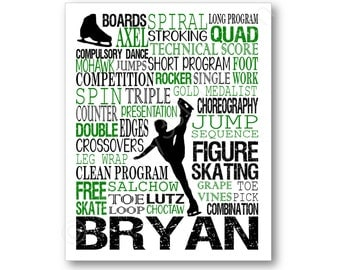Men's Figure Skating Typography Poster, Boys Figure Skating Art, Figure Skating Gift, Ice Skating Gift, Personalized Ice Skate Coach Gift