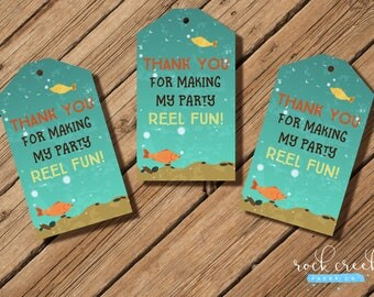 """Fishing Trip Party Thank You Hang Tags, birthday party, party favor, 2 x 3-1/2"""" each. INSTANT DOWNLOAD"""