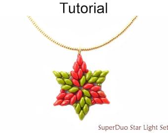 Beading Tutorial Pattern - SuperDuo Star Necklace Earrings - Christmas Hanukkah - Simple Bead Patterns - SuperDuo Star Light Set #23855