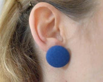 Large royal blue Handmade unique fabric covered button earrings (2.3cm, surgical steel posts and clutch)
