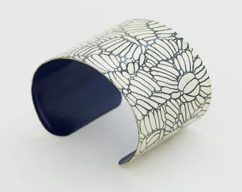 Bracelet DAHLIA - Navy Blue & White Gold -