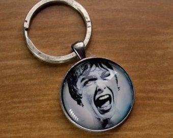 Antiqued Silver Psycho Keychain