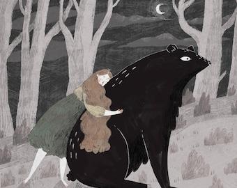 "Bear Hug 8x8"" print"