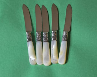 Five Vintage Sterling and Mother of Pearl Fruit Knives