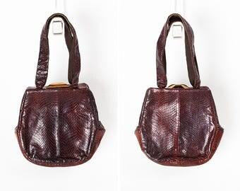 1930s Art Deco Brown Snake Skin Box Purse // Handbag // Silk Lining