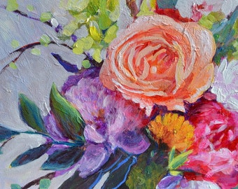 Floral still life Original Flower painting Rose bouquet Peach  Rose painting| Peony  painting | Floral Acrylic Purple Flowers in Vase