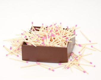 Pink tip wooden matches for wedding, matchhouse making, matchbox filling, crafts