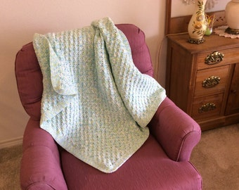 Crocheted  Lapghan, Handmade Small Blanket, Wheelchair Lap Robe, Childs Nap Blanket, Toddler Crochet Blanket, Elderly Handmade Gift