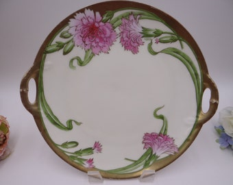 1920s Vintage PT Bavaria Tirschenreuth Hand Painted and Artist Signed Chrysanthemum Cake Plate or Serving Plate